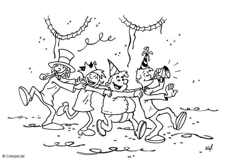 Dibujo para colorear Fiesta de carnaval - Img 5700