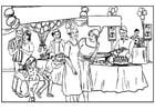 Dibujo para colorear Fiesta de cumpleaños