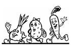 Dibujo para colorear Fiesta de verduras