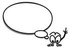 Dibujo para colorear figura con globo de texto
