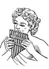 Dibujo para colorear flauta - flauta de Pan