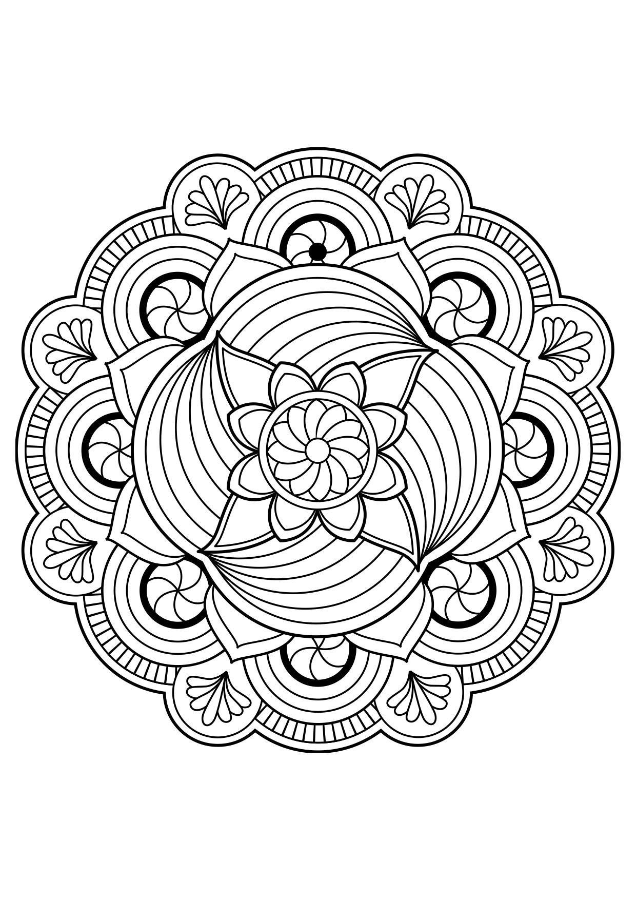 Dibujo para colorear flor de mandala - Dibujos Para ...