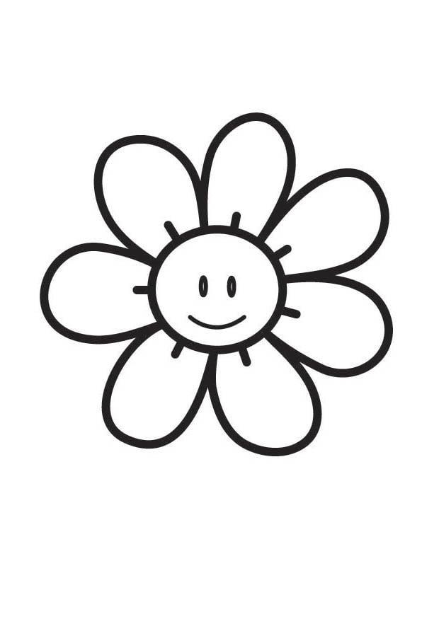 Dibujo de Flores en maceta para colorear y pintar.