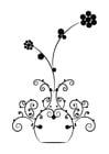 Dibujo para colorear flores en jarrón
