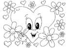 Dibujo para colorear flores San Valentín