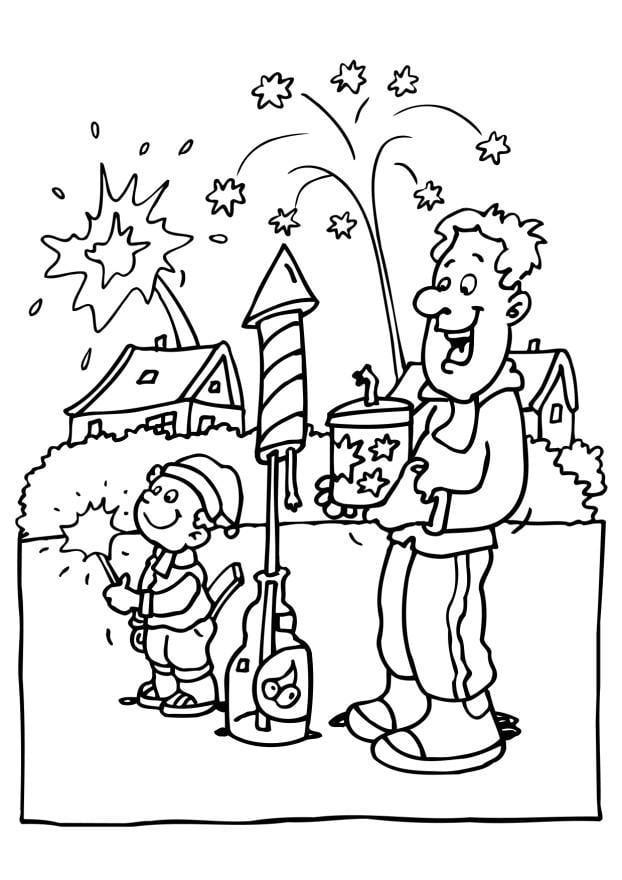 Dibujo Para Colorear Fuegos Artificiales Img 6568