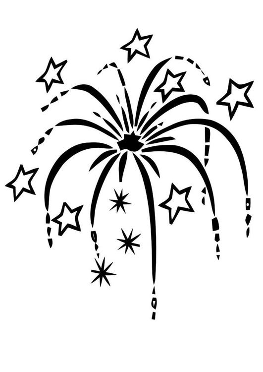 Dibujo para colorear fuegos artificiales - Img 22590