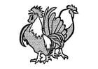 Dibujo para colorear gallo y pollo