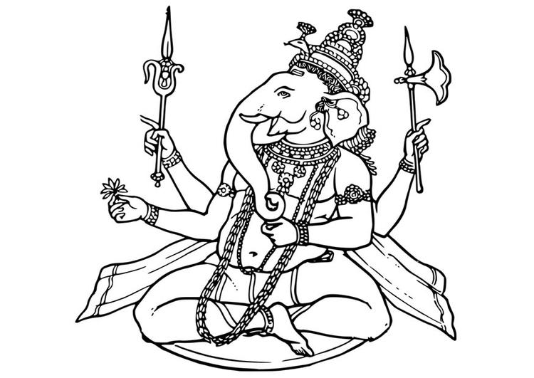 Dibujo para colorear Ganesha - Img 17067