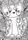 Dibujo para colorear gatito