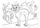 Dibujo para colorear gato aterrador