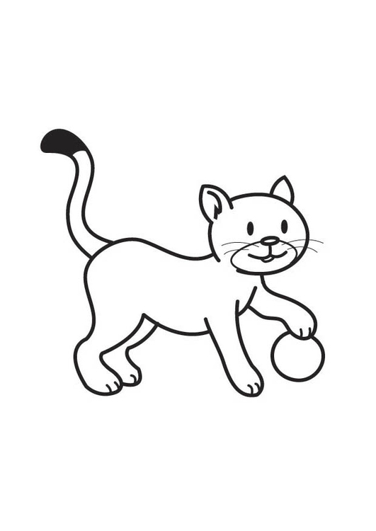 Dibujo para colorear gato con pelota - Img 17606