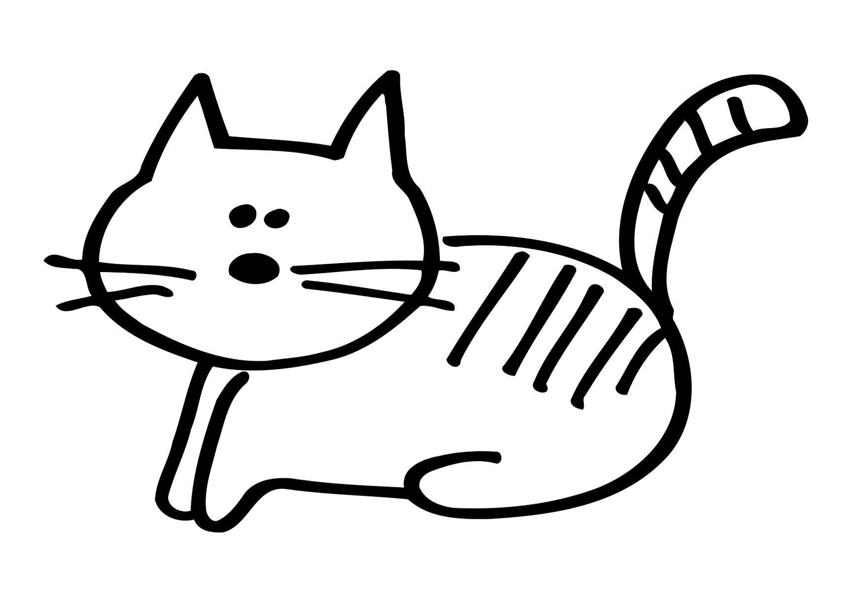 Atractivo Colorear La Imagen De Un Gato Colección de Imágenes ...