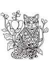 Dibujo para colorear gato en el jardín