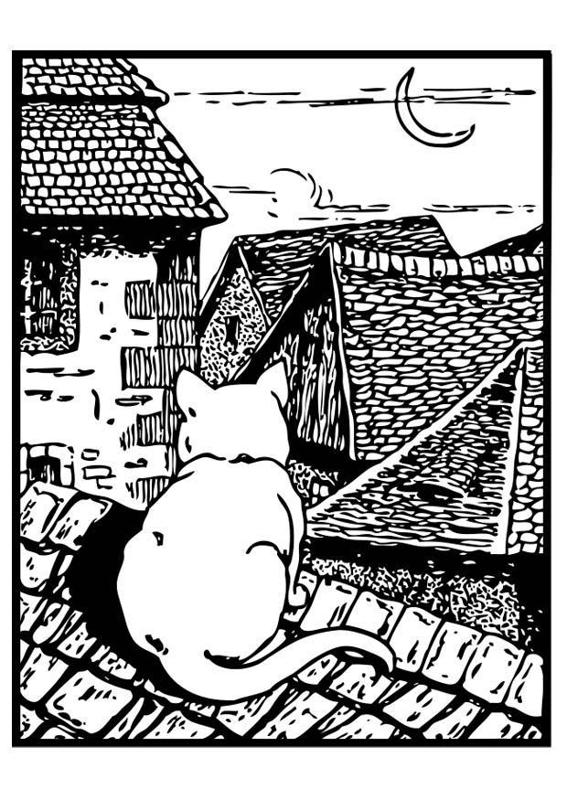 Dibujo para colorear gato en el tejado img 18723 - Dibujos de tejados ...