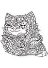 Dibujo para colorear gato es feliz
