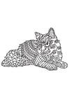 Dibujo para colorear gato está descansando