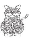 Dibujo para colorear gato gordo