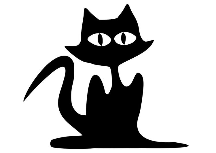 Dibujo para colorear gato negro - Img 19741