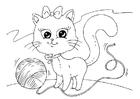 Dibujo para colorear gato y lana