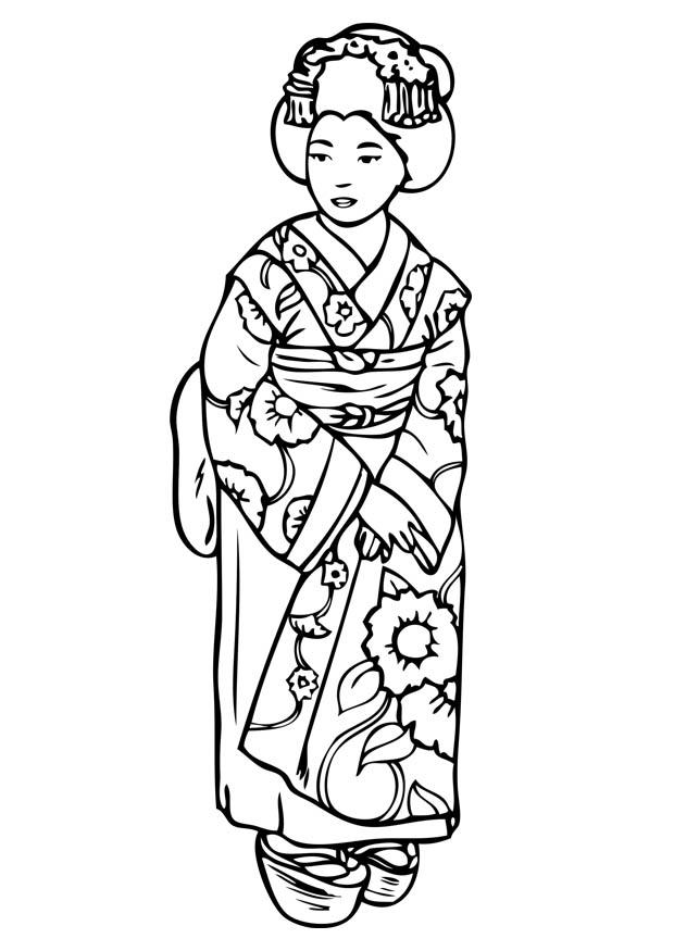 Dibujo para colorear Geisha   Img 15735