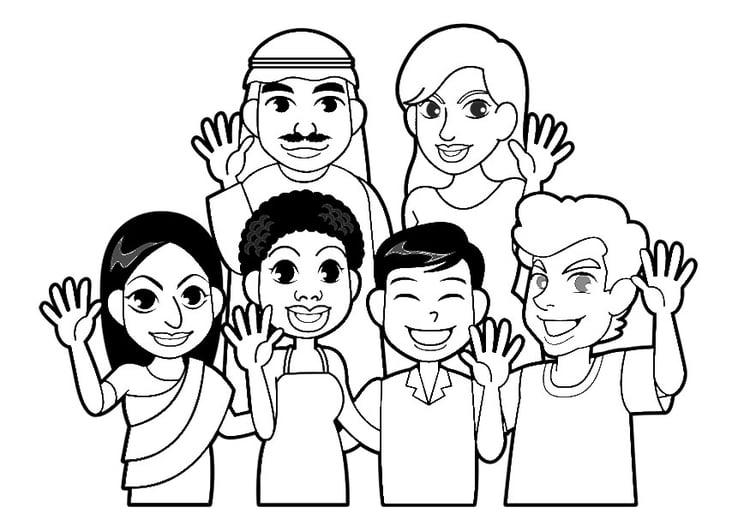 Dibujo De Nacionalidades Para Colorear: Dibujo Para Colorear Gente Del Mundo