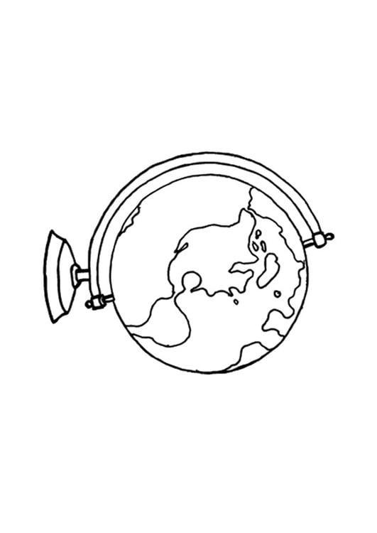 Dibujo para colorear Globo terraqueo - Img 15640