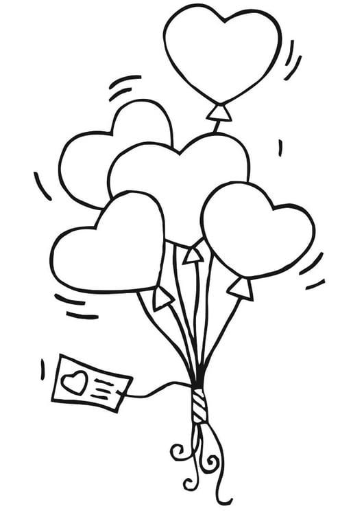 Dibujo para colorear globos de corazones - Img 21188