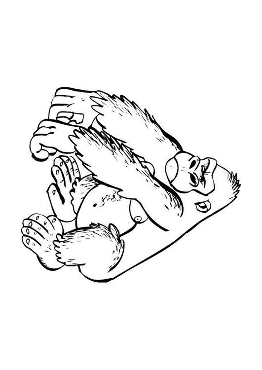 Dibujo para colorear Gorila - Img 9682
