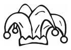 Dibujo para colorear gorro de arlequín