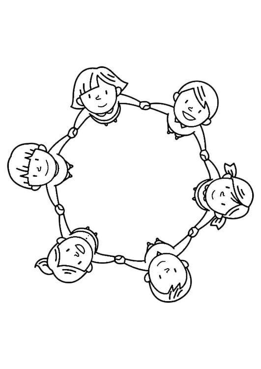Dibujo para colorear grupo de niños - Img 30245