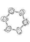 Dibujo para colorear grupo de niños