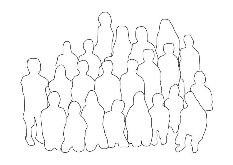 Dibujo para colorear grupo de personas - clase - Img 18730