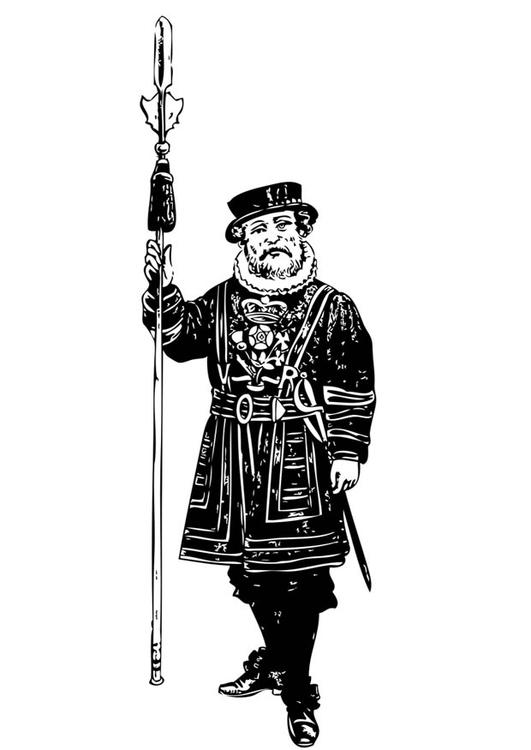 Dibujo para colorear guardia - torre de Londres - Img 17084