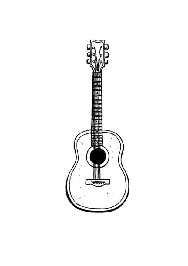 Hermosa Guitarra Para Colorear Friso - Dibujos Para Colorear En ...