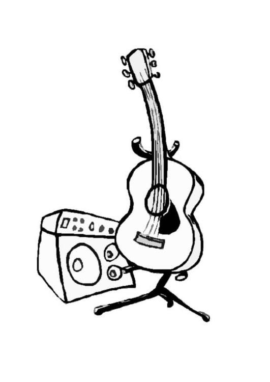 Dibujo para colorear Guitarra - Img 8704