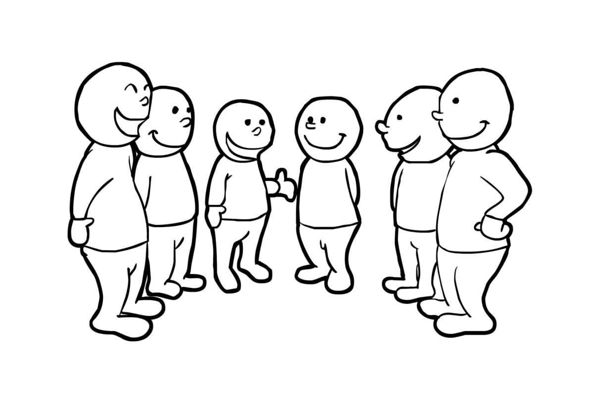 Grupos De Niños Para Colorear: Dibujo Para Colorear Hablar En Grupo