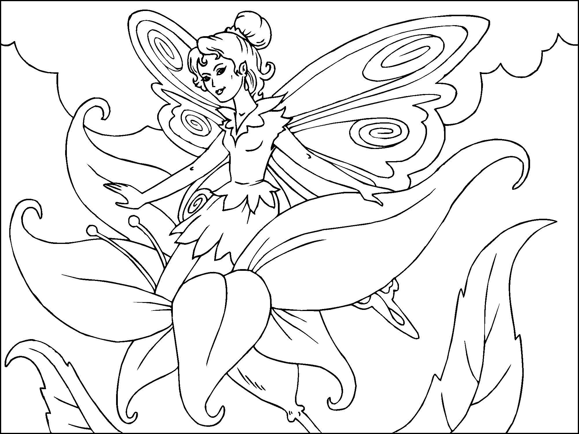 Dibujo para colorear hada de las flores  Img 22814