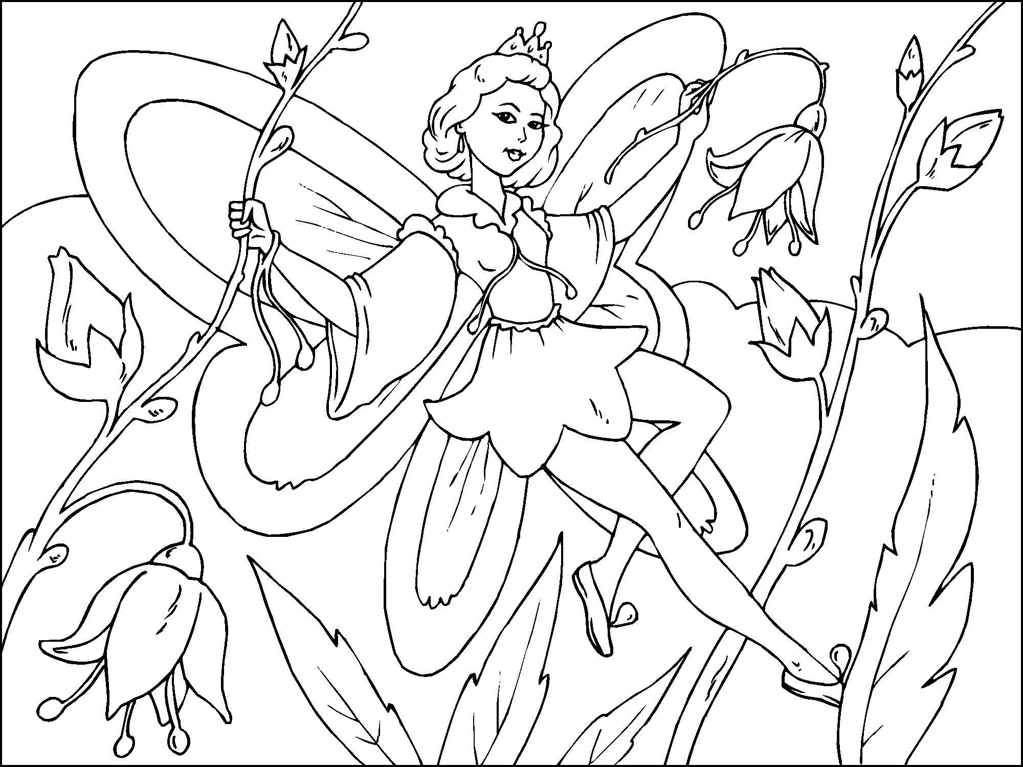 Dibujo para colorear hada de las flores - Img 22817