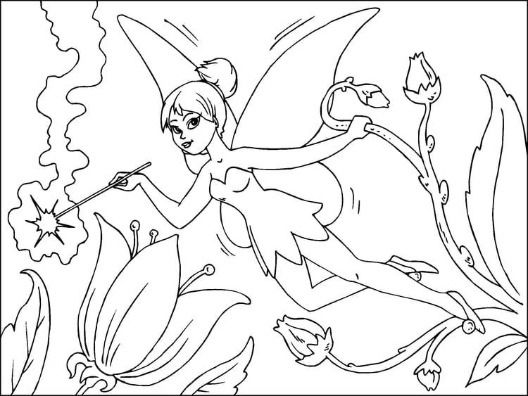 Dibujo para colorear hada de las flores - Img 22815