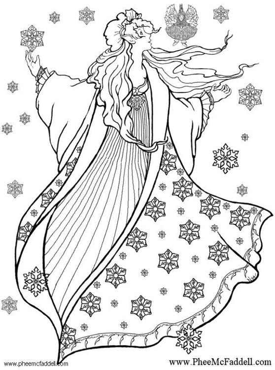 Dibujo para colorear Hada del invierno - Img 6126