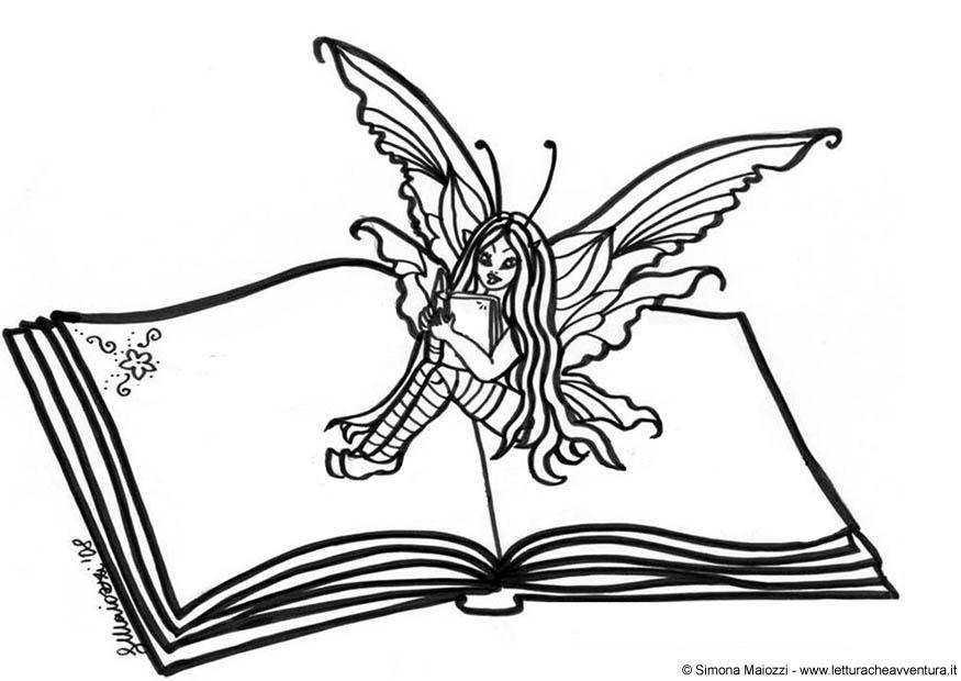 Dibujo para colorear Hada en libro - Img 12346