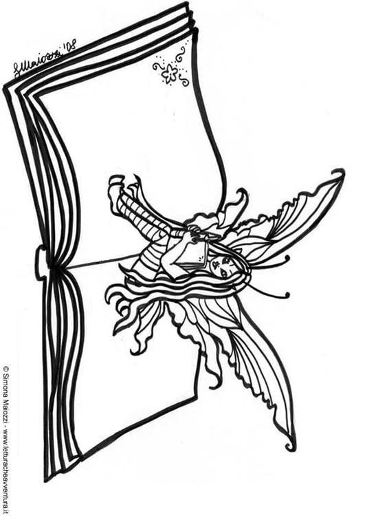 Dibujo para colorear Hada en libro - Img 12400