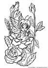 Dibujo para colorear Hada entre rosas