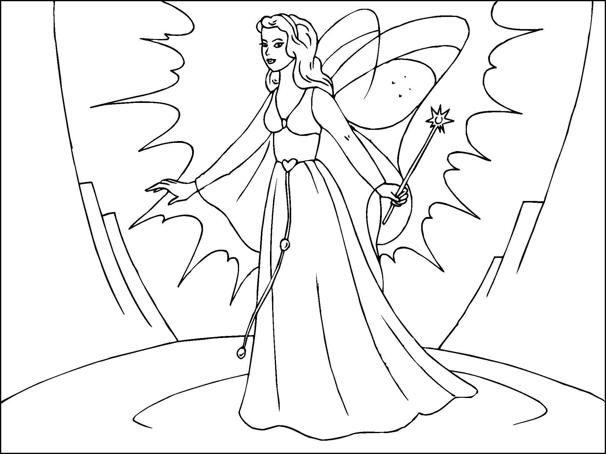 Dibujo para colorear hada mágica - Img 22818