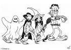 Dibujo para colorear Halloween - truco o trato