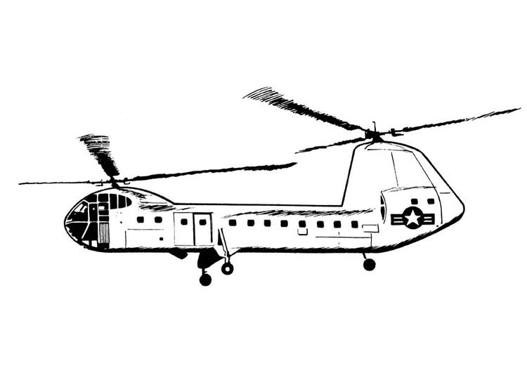 Dibujo para colorear helicóptero - Img 18901