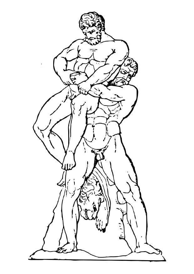 dibujo para colorear heracles y anteo img 18629