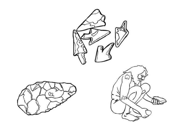 Dibujo para colorear Herramientas de piedra - Img 9539