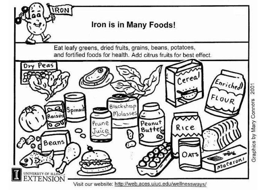 Dibujo para colorear Hierro en nuestra alimentación - Img 5924